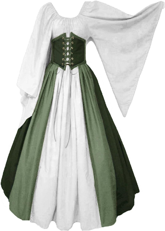 lancoszp Vestido sin Hombros Medieval Renacentista de Mujer Cintura con Cordon Cintura Alta Verde