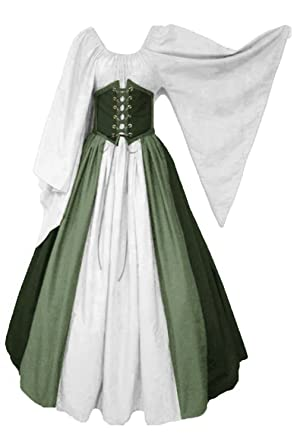 HAOCOS Womens Renaissance Costumes Medieval Dress Long Dress Cosplay Retro Gown