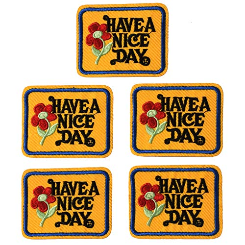 SHELCUP 5PCS Have A Nice Day 70's Slogan 100% Embroidered Iron-On Hippy Boho Weed Love Patch Small