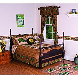 John Deere Traditional Brown Plaid Bedding 2 Piece Set Twin