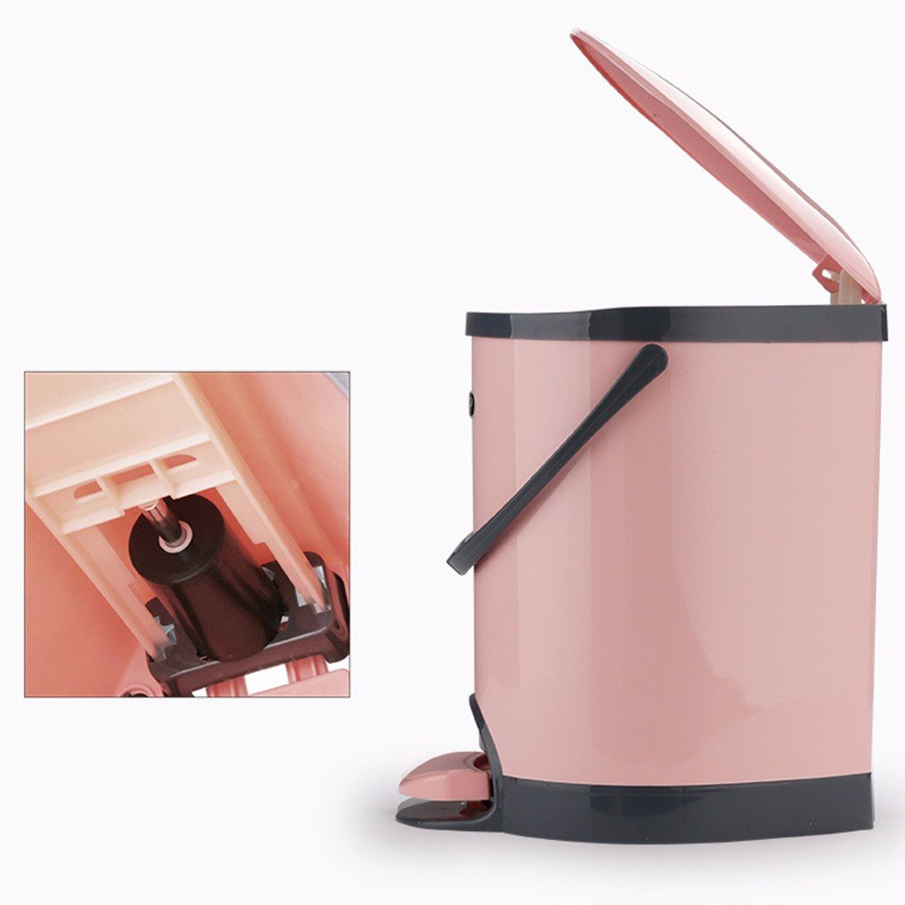 GAOLI Pedal Garbage Cans Home Bad Wohnzimmer Küchen kreative Cover European Style Pedale Garbage Cans 5.5L Rosa Küchen-Abfalleimer