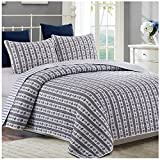 Hedaya Home Fashions Anchors Reversible Quilt Set, Classic Striped Nautical Pattern, 3-Piece Set with Quilt and Pillow Shams - King, Anchors
