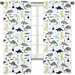 Sweet Jojo Designs 2-Piece Blue and Green Modern Dinosaur Bedroom Decor Window Treatment Panels