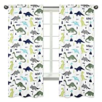 Blue and Green Modern Dinosaur Bedroom Decor Window Treatment Panels - Set of...