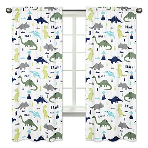 Sweet Jojo Designs 2-Piece Blue and Green Modern Dinosaur Bedroom Decor Window Treatment Panels from Sweet Jojo Designs