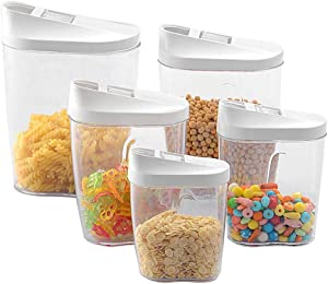 5Pcs Food Storage Box Clear Container Set with Pour Lids Kitchen Food Sealed Snacks Dried Fruit Grains Tank Storage Cereal Box Cereal Grains Storage Tank Kitchen Sorting Food Organizer Container