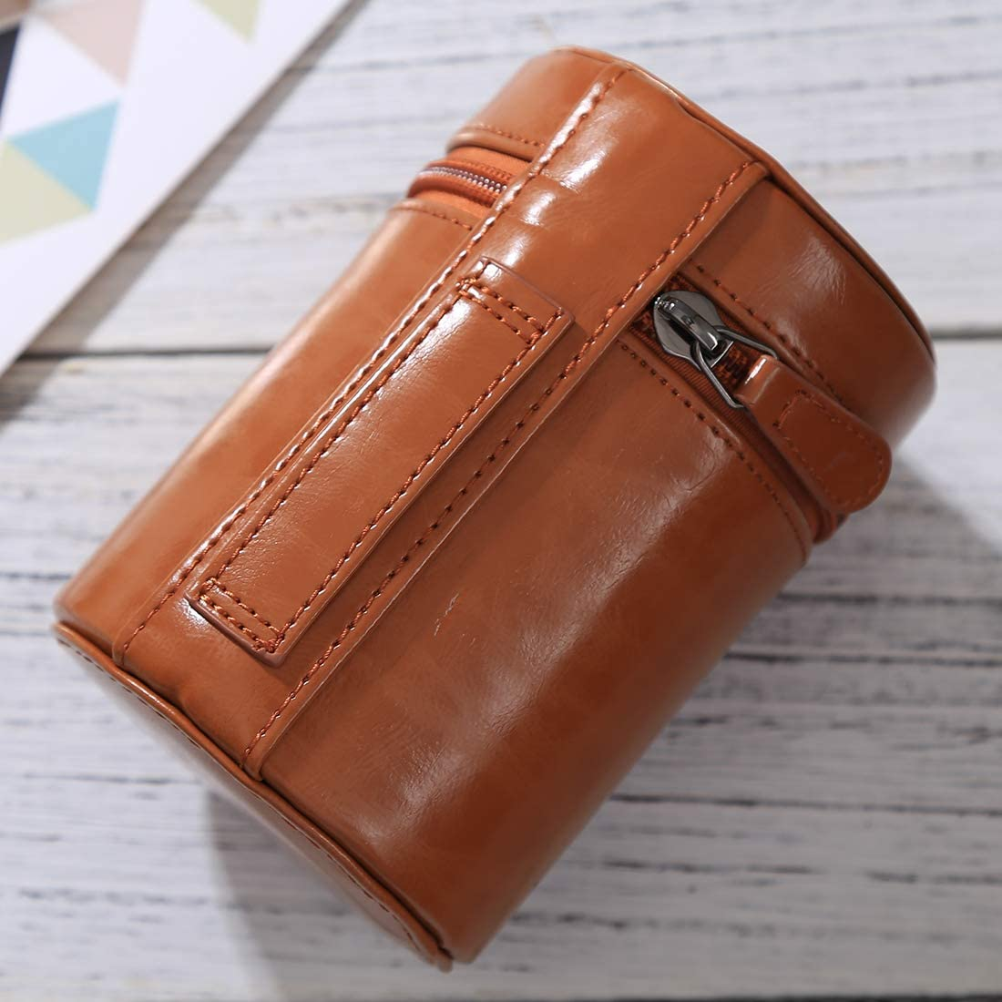 Black YANTAIANJANE Camera Accessories Medium Lens Case Zippered PU Leather Pouch Box for DSLR Camera Lens Size: 13x9x9cm Color : Coffee