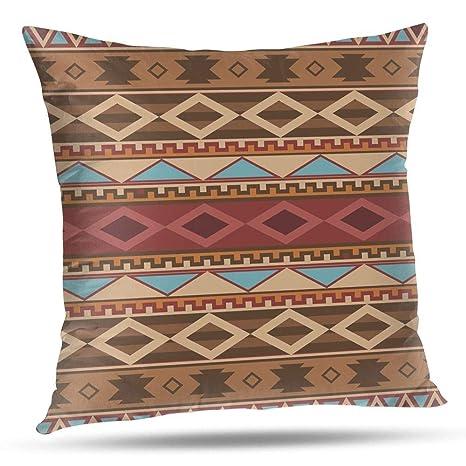 RCXrBFE Funda de Almohada, 40 x 40 cm Navajo Native American Pattern Imprimir Funda de cojín Funda de cojín Lados Dobles Carcasa con Cremallera ...