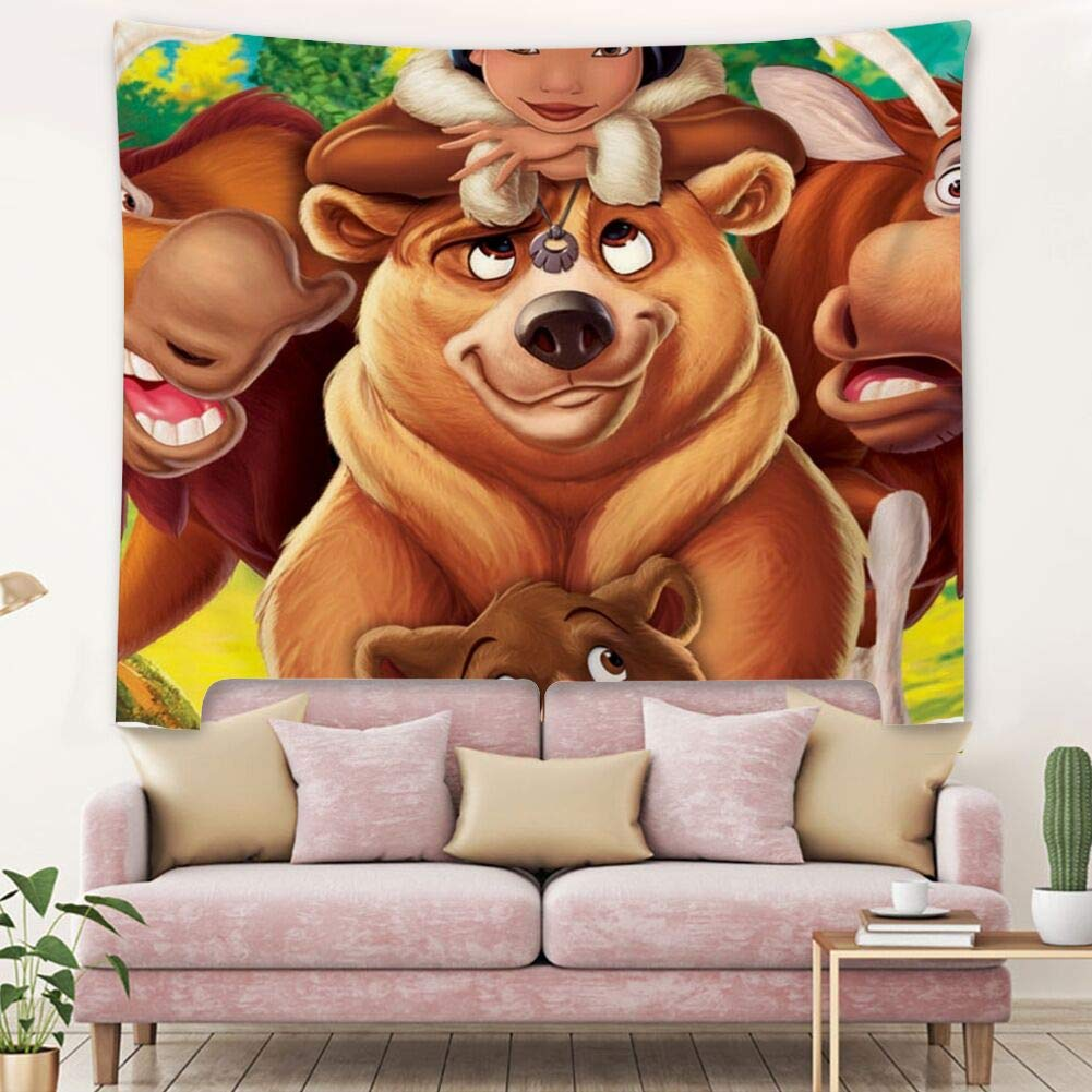 Tapestry Wall Hanging, Popular Hippie Bohemia Designed Tapestries Home Bedding Dorm Brother Bear (60inch51inch)