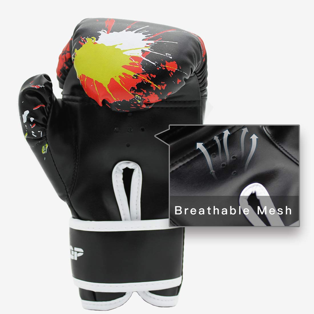 BreaDeep Children Kids Leather Boxing Gloves for Training Sparring Show/ Performances, Age 3-12 Years Old (Black)