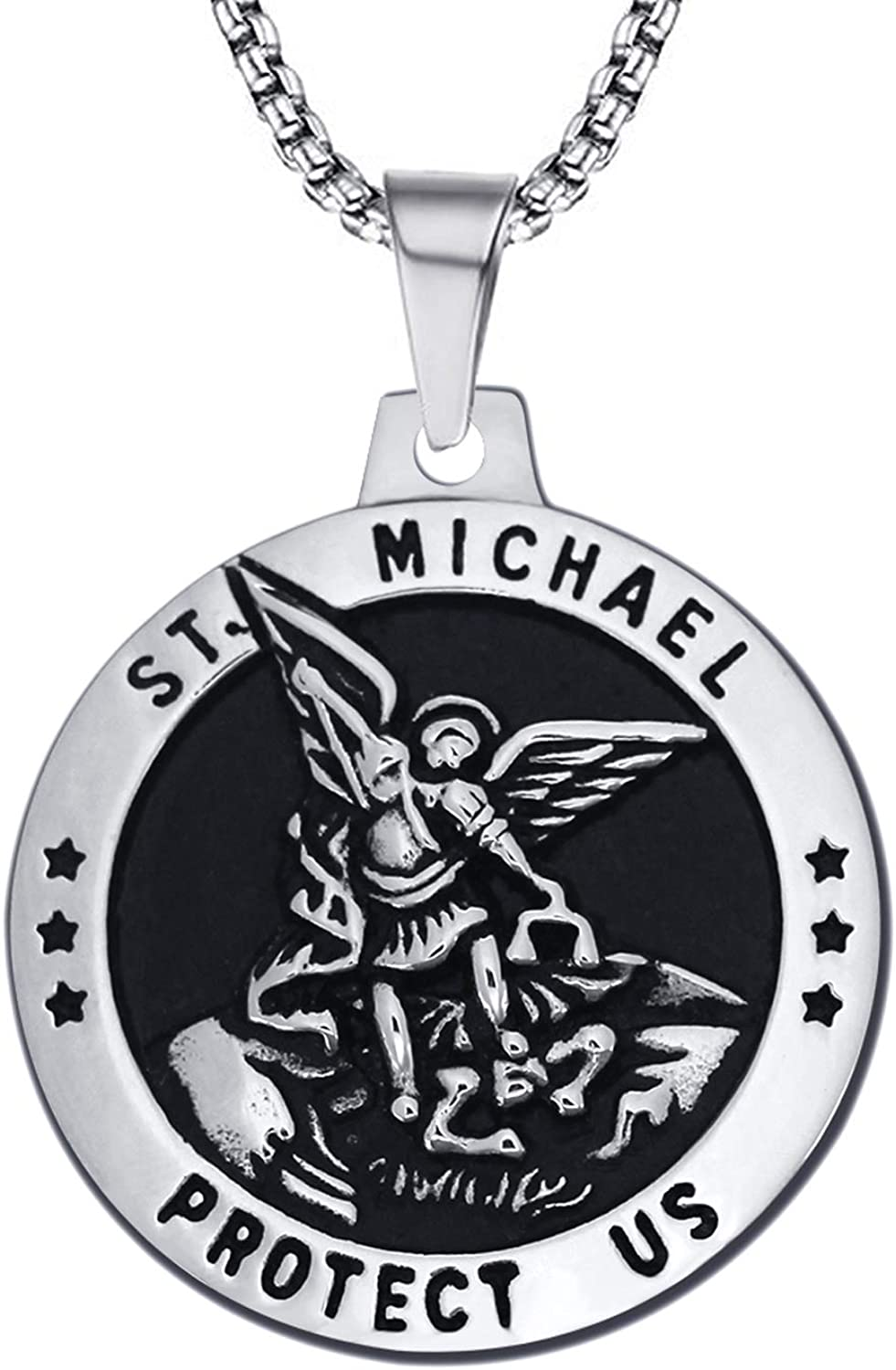 enhong St Michael Necklace Vintage Stainless Steel The Archangel Pendant with Chain