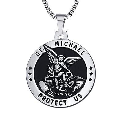 Amazon.com: enhong St Michael - Collar con colgante de acero ...