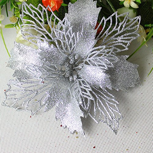 - Hot Sale!DEESEE(TM)Romantic Rosette Hanging Charm Party Decoration Christmas Tree Ornament Flower (Silver)