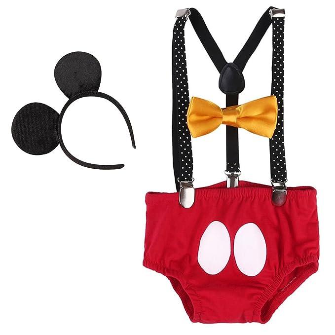 IWEMEK Newborn Baby Boys Girls Cute Mouse 1st Birthday Halloween Costume Cake Smash Bloomers Shorts Adjustable Y Braces Suspender Bow Tie Ears 4PCS