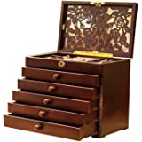 Rose Carved 6 Layer Wooden/Real Wood Jewelry Box and Lock Wine Red