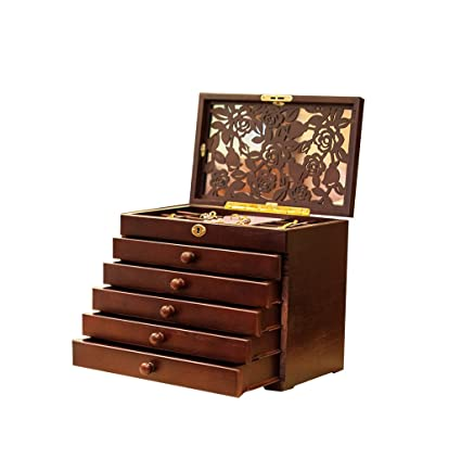 Amazoncom Rose Carved 6 Layer WoodenReal Wood Jewelry Box and