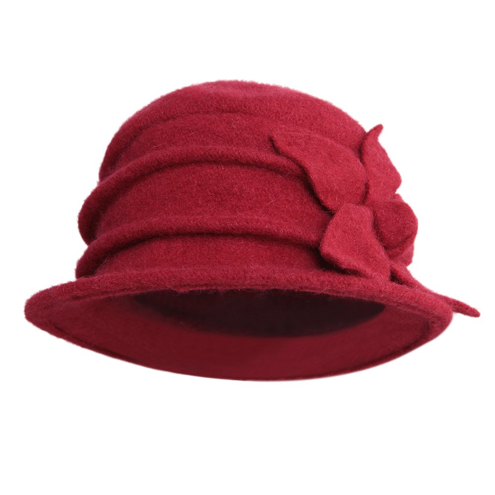 LAEMILIA Women Winter Soft Fleece Cloche Bucket Hats UV Sun Protection Hat with Piping & Bow Detail