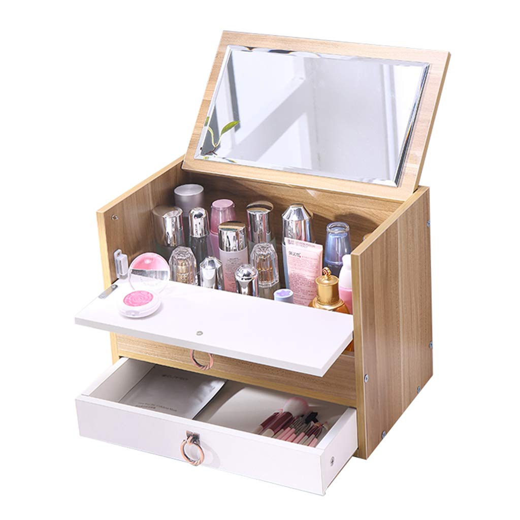 SNH-Box Cosmetic Organiser Wooden Two Tier Large Capacity Multi-Function Adjustable with Drawers Mirror Makeup Holder Round Pull Ring(White/Walnut Color)