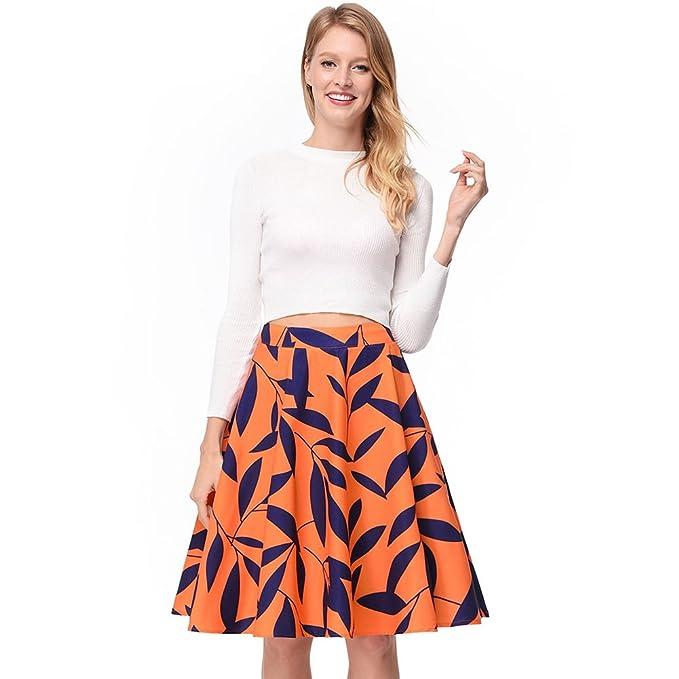 Las Hojas de Naranja Imprimen Una Falda Midi Plisada Vintage Acampanada de Las Mujeres Ocasionales de
