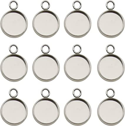 10mm Bezel Cup Double Links-Earring Dangle-Charm Links-Blank Bezel Settings-Round Connector Trays fit 10mm glass cabochon
