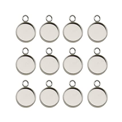 12mm Charm Stainless Steel Round Ring Base Setting Cabochons Ring Blanks Trays