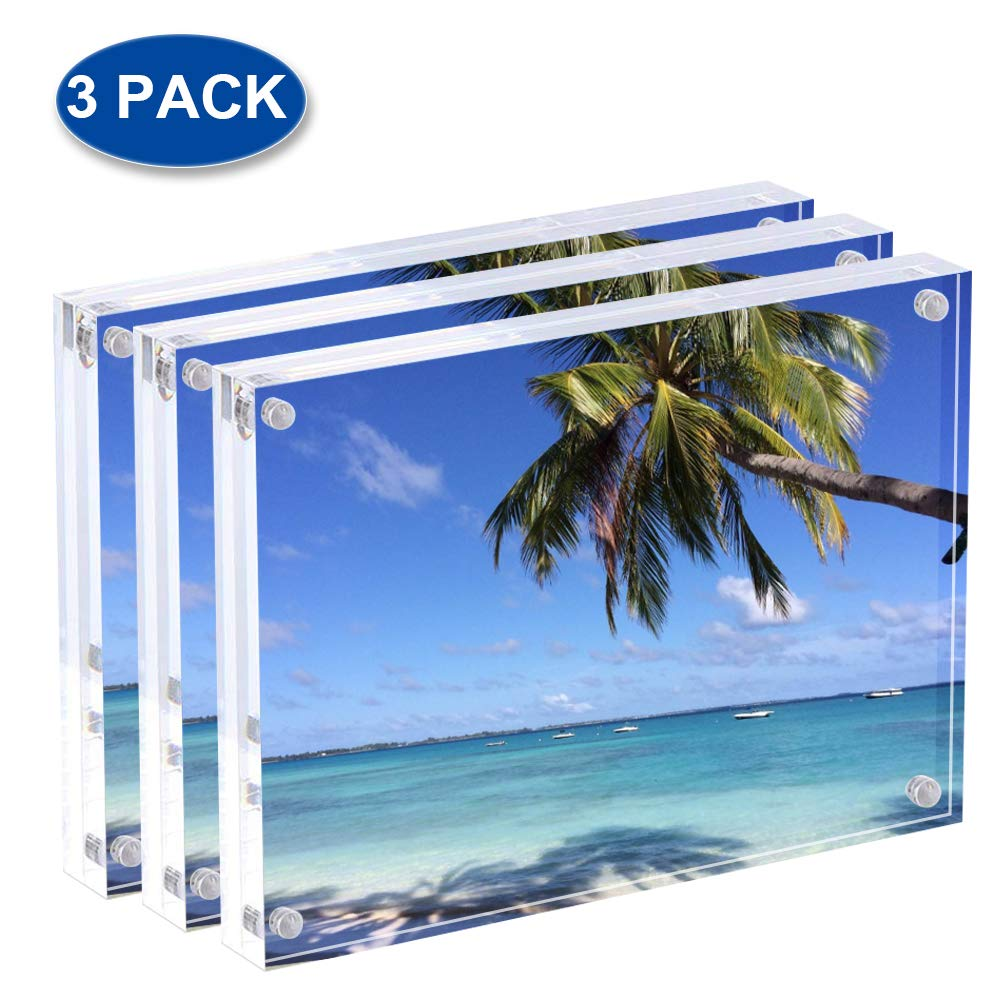Display4top Acrylic Magnet Photo Frame Double Sided Clear Picture Frame (3pack 3.5x5'')