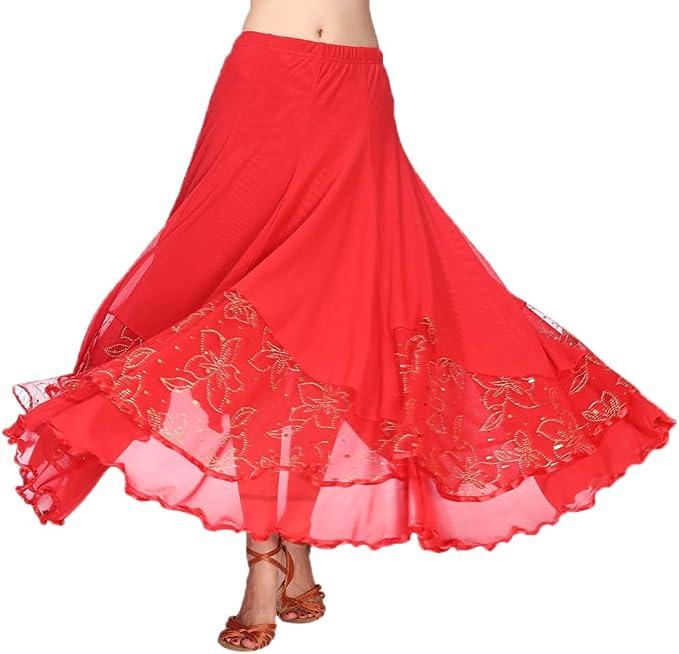 Ladies Flamenco Ballroom Dance Skirt Full Swing Mesh Skirt Waltz Tango Dress