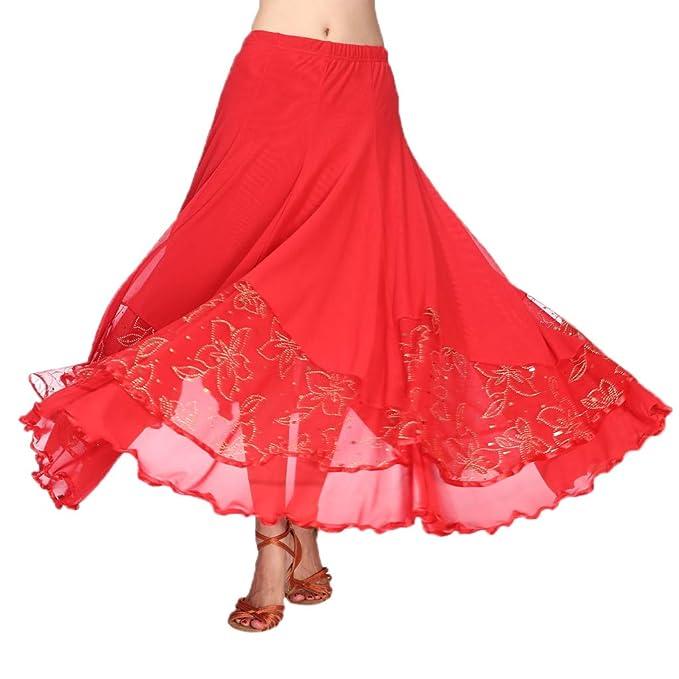 B Baosity Falda Larga Plisada Volange Cintura Alta Elástica Traje para Baile Flamenco