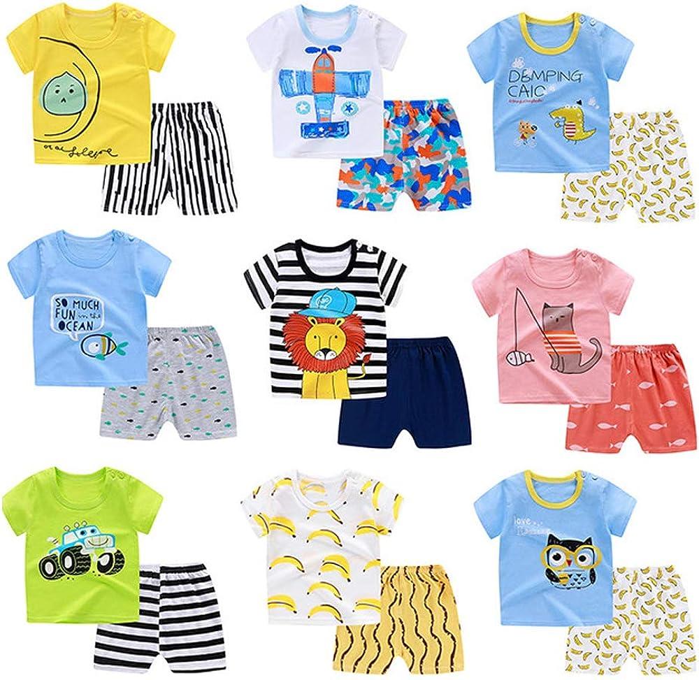 LAIXING Toddler Boy Summer Clothes Shorts 2 Piece Beach Shorts Sleeve T-Shirt and Shorts