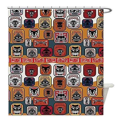 Costumes Of Different Indian States (Liguo88 Custom Waterproof Bathroom Shower Curtain Polyester Primitive Decor Collection Native American Indian Maya Face Mask in Different Expressions Universal Totem Illustration Multi Decorative bat)