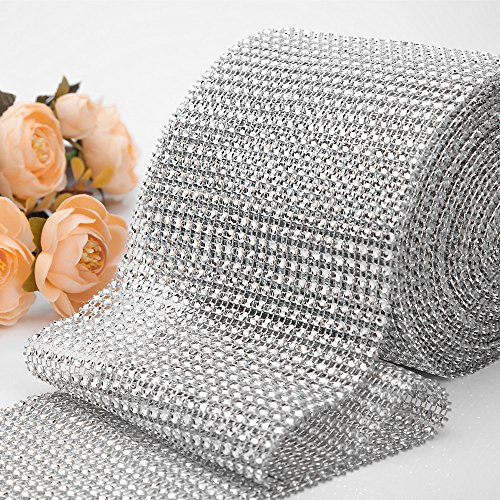 10 Yard Rhinestone Diamond Ribbon, Bling Mesh Wrap Roll for Event Decorations, Wedding Cake, Bridal Baby Shower, Birthdays, DIY Arts Crafts, Vase and Holiday Party Decorations (Silver) (Rhinestone Mesh Runner)