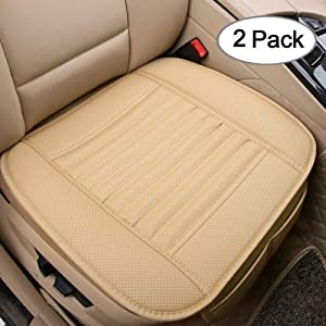 Big Ant Car Seat Cushion, 2PC Breathable Car Interior Seat Cover Cushion Pad Mat for Auto Supplies Office Chair with PU Leather(Beige)