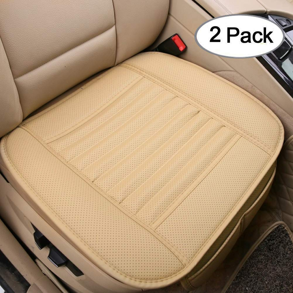 Big Ant Car Seat Cushion 2pc Breathable Car Interior Seat Cover Cushion Pad Mat For Auto Supplies Office Chair With Pu Leather Beige