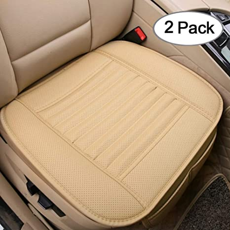 971e2d3db9146 Big Ant Car Seat Cushion, 2PC Breathable Car Interior Seat Cover Cushion  Pad Mat for Auto Supplies Office Chair with PU Leather(Beige)