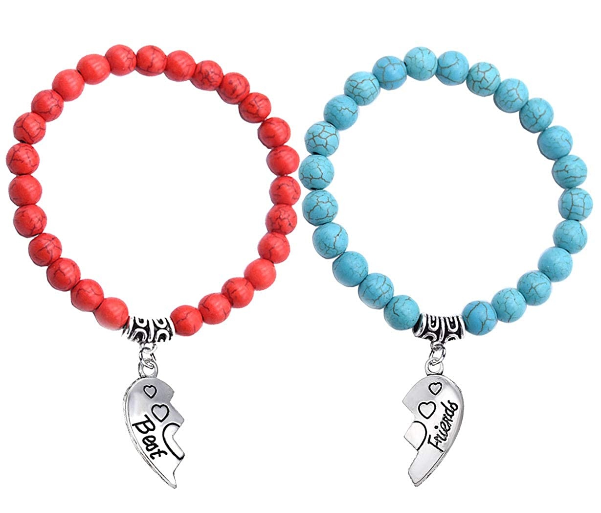 SOOFUN 2PCS Best Friends Bracelets 8mm Elastic Natural Stone Yoga Bracelet,Soul Sisters Friendship Charm,Christmas Birthday Gift