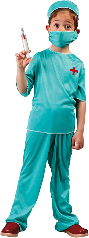Guirca - Disfraz de médico con traje y gorro, para niños de 7-9 años, color verde (81194)