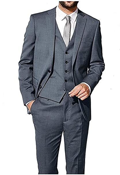 Amazon.com: botong clásico gris 3 piezas Business suit ...