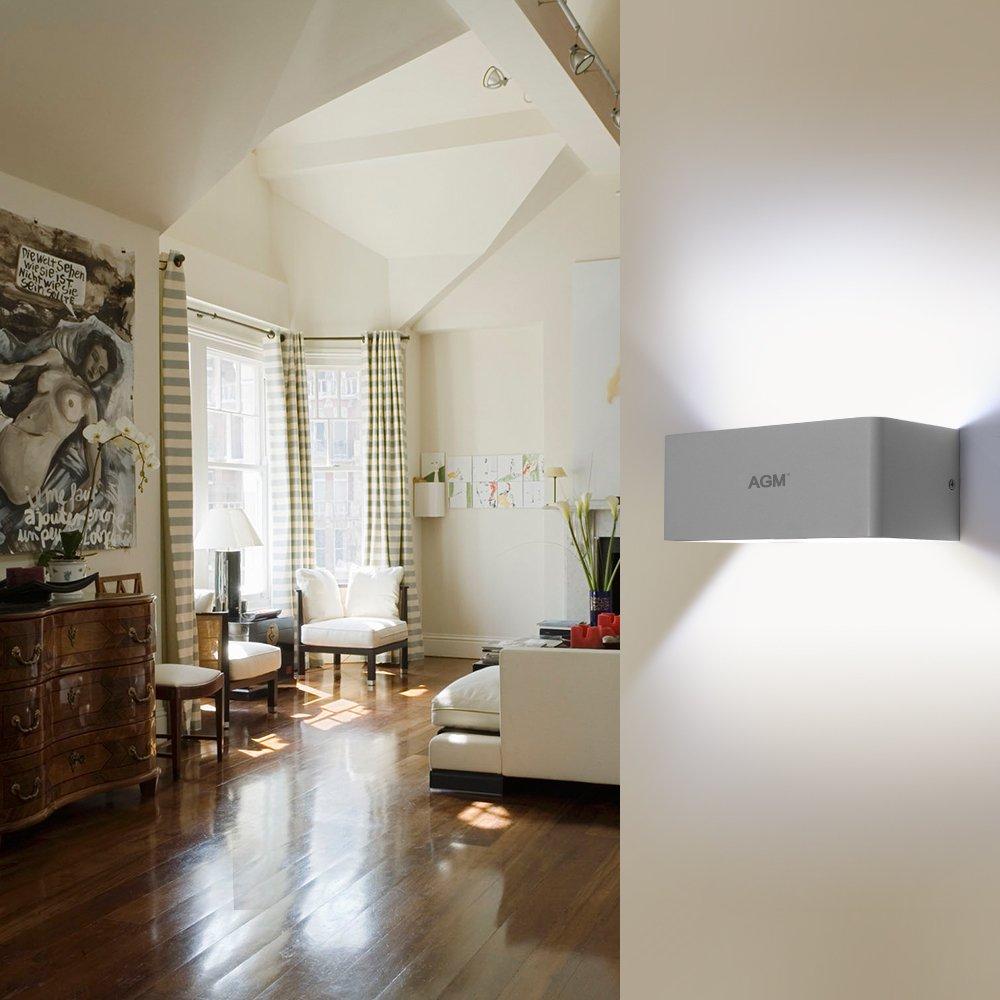 LED Wandlampe Wandleuchte, AGM 9W Aluminium Leuchten Wandlicht Flurlampe für Schlafzimmer, Wohnzimmer, Korridor 5000-6500K(kaltweiß)