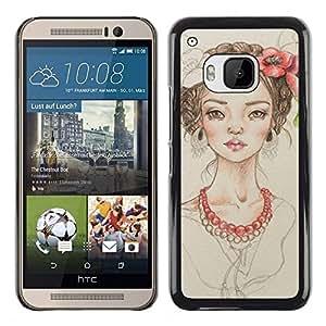 Chica Floral Perla Beige Retrato Moda- Metal de aluminio y de plástico duro Caja del teléfono - Negro - HTC One M9