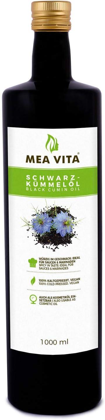 Meavita Aceite De Comino Negro Meavita, 100% Puro Y Prensado En Frío, 1 Paquete (1 X 1000 Ml) 1000 ml