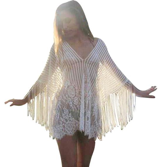 Bikini Cubrir mujer, ❤️ Amlaiworld Trajes de Baño Cubrir mujer Vestido  mujer Sexy Verano Crochet Flecos Bikini Cover Up Vestido de playa