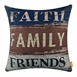 LINKWELL 18x18 inches Vintage Words Faith Family Friends Burlap Throw Pillowcase Cushion Cover (CC1502)