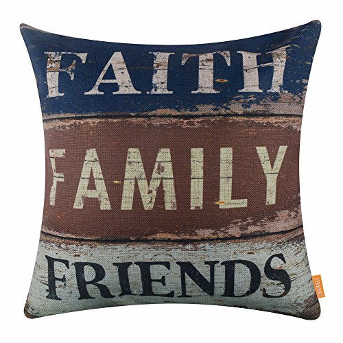 LINKWELL 18x18 inches Vintage Words Faith Family Friends Burlap Throw Pillowcase Cushion Cover (CC1502)