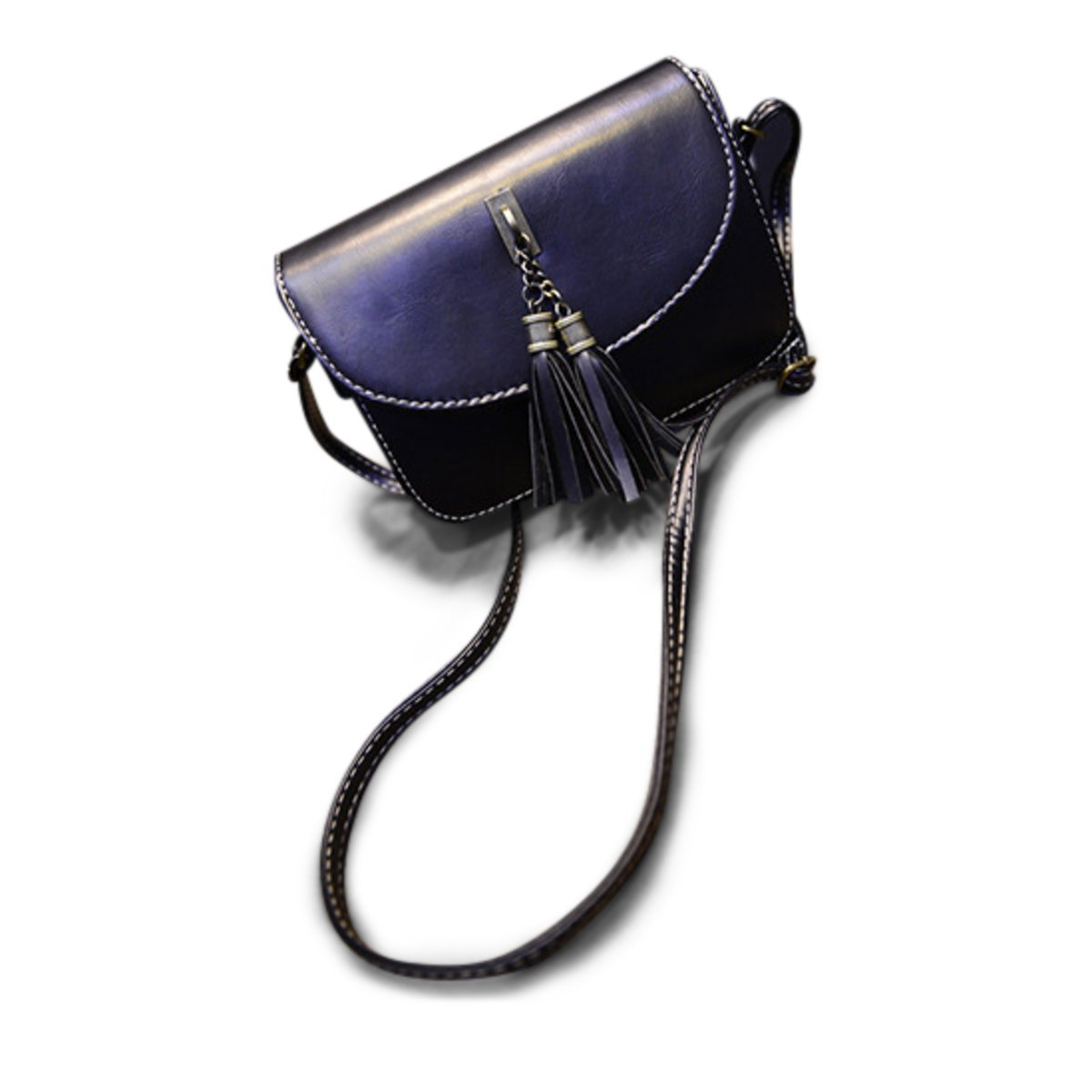 Brag Bag Small Black Leather Handbags For Women Mini Crossbody Purse Tassel Bag Womens Shoulder Bag by BragBag (Image #1)