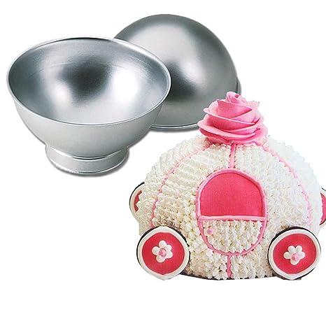 Molde de bola 3D para tartas, aleación de aluminio, media esfera, para hornear