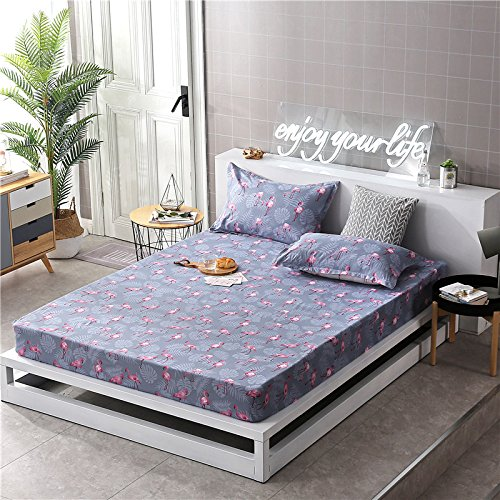 Fitted Sheet Bedsheet Without Pillowcases Used for Bedding Duvet Cover Set Microfiber Fabric ZF Twin Full Queen Bunny Pig Flamingo Animal Cartoon Design (Flamingo Leaf, Green, King 71''x78'')