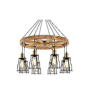 Roue En Bois Vintage Barre De Abat Jour En Métal Comptoir Plafond