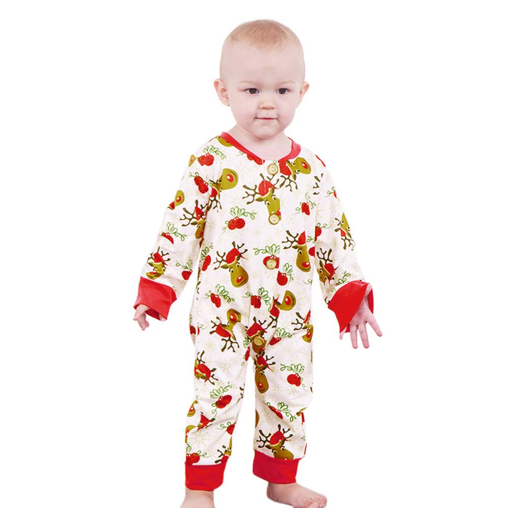 Tronet Baby Boys Girls Cartoon Deer Print Romper Jumpsuit Christmas Best Gift for Children (100(Age:18-24Months), White)