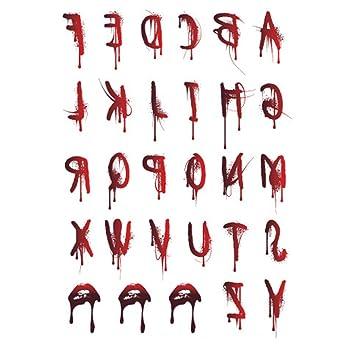 Westeng 5X Tatuajes Temporales Halloween Letras Sangrantes ...