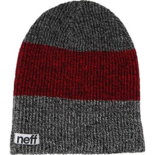 neff Men's Trio Beanie, Black/Maroon/Grey, One Size
